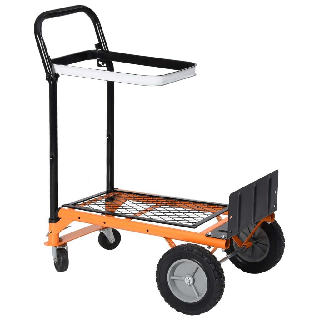 vidaXL 2-i-1 hopfällbar plattformsvagn med stöd för lövpåse