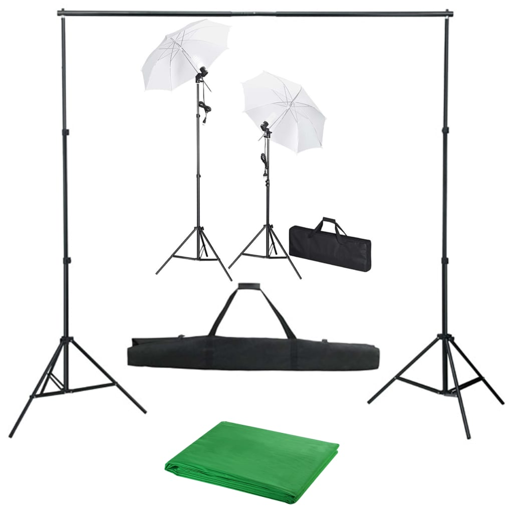 Fotostudio med bakgrunder, lampor och paraplyer