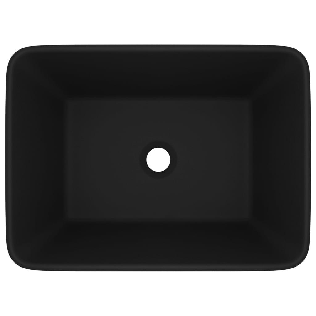 vidaXL Lyxigt handfat matt svart 41x30x12 cm keramik