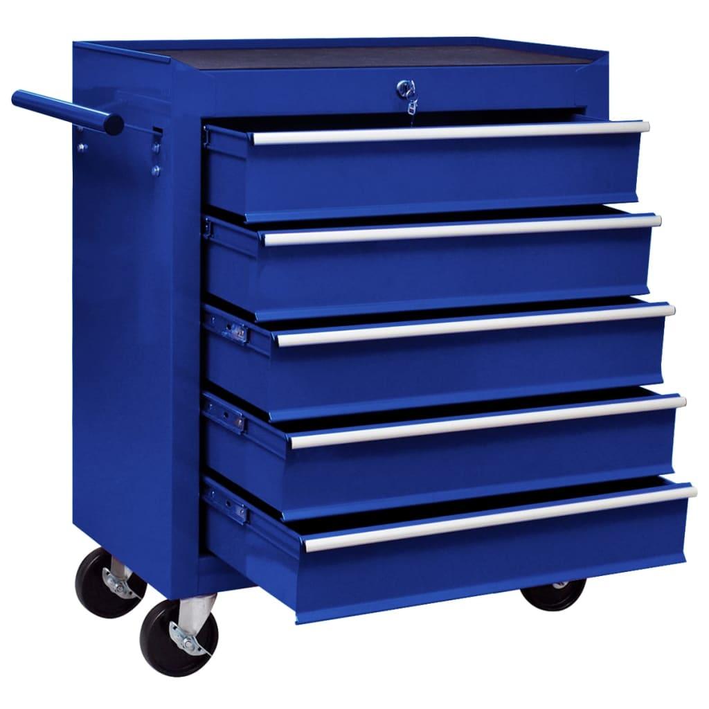 vidaXL Verktygsvagn med 5 lådor blå