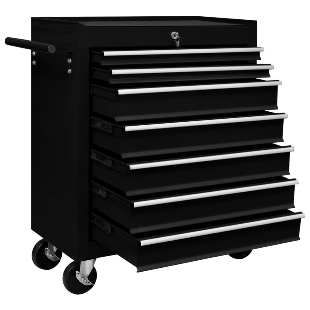 vidaXL Verktygsvagn med 7 lådor svart