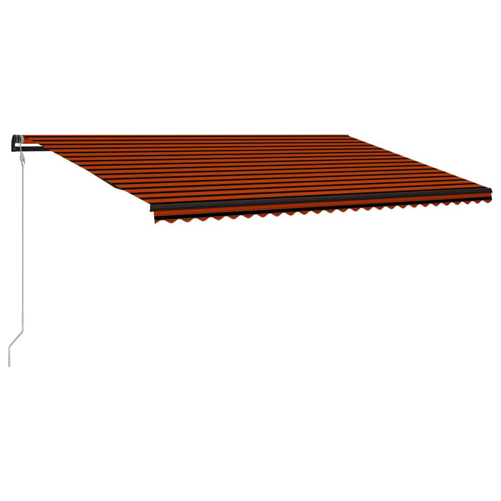 Markis automatiskt infällbar 600x300 cm orange och brun