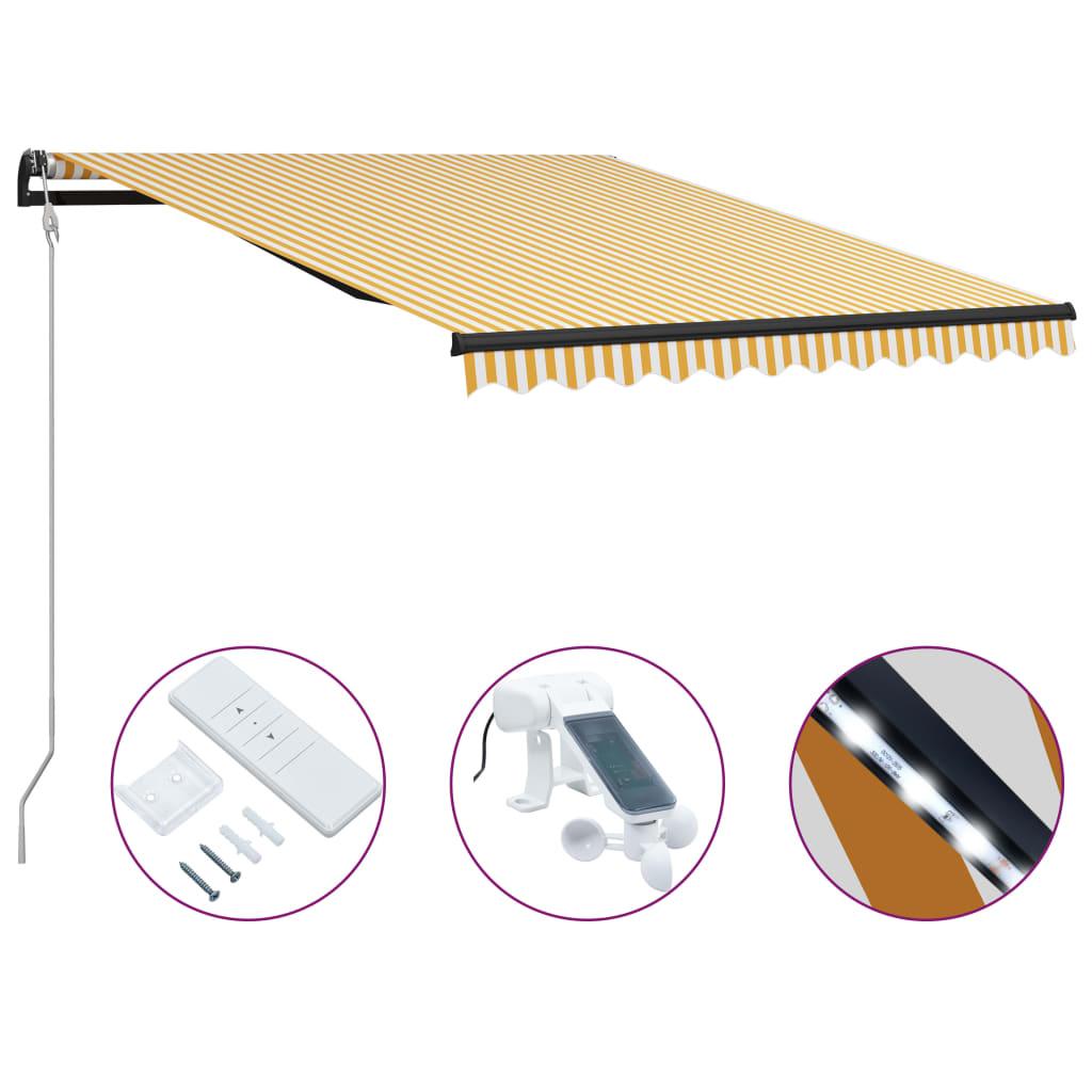 Infällbar markis med vindsensor & LED 300x250 cm gul och vit