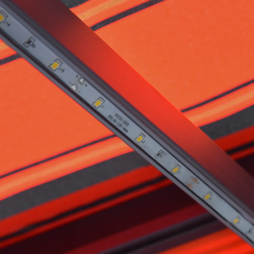 Infällbar markis med vindsensor & LED 300x250 cm orange & brun