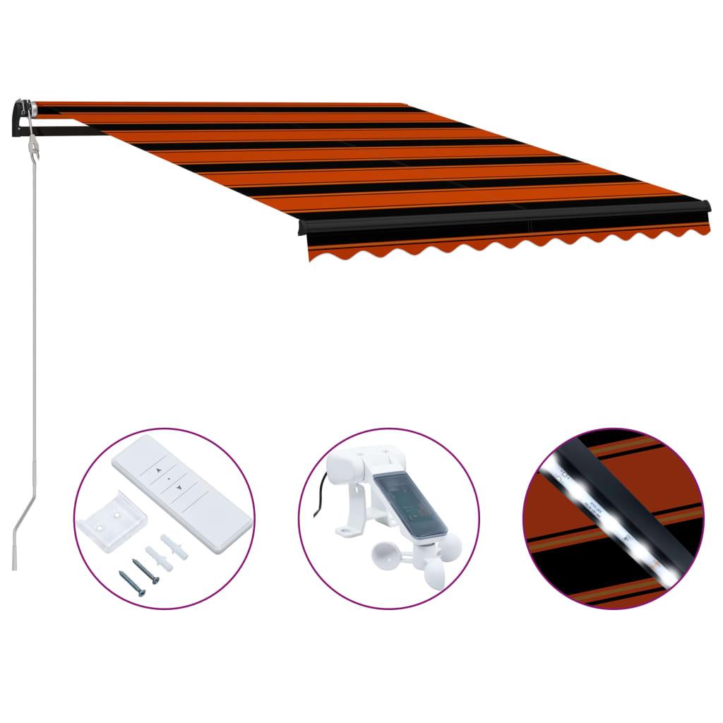 Infällbar markis med vindsensor & LED 350x250 cm orange och brun