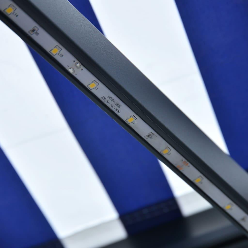 Infällbar markis med vindsensor & LED 450x300 cm blå och vit