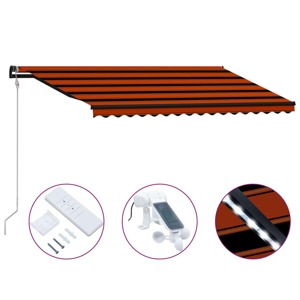 Infällbar markis med vindsensor & LED 450x300 cm orange & brun