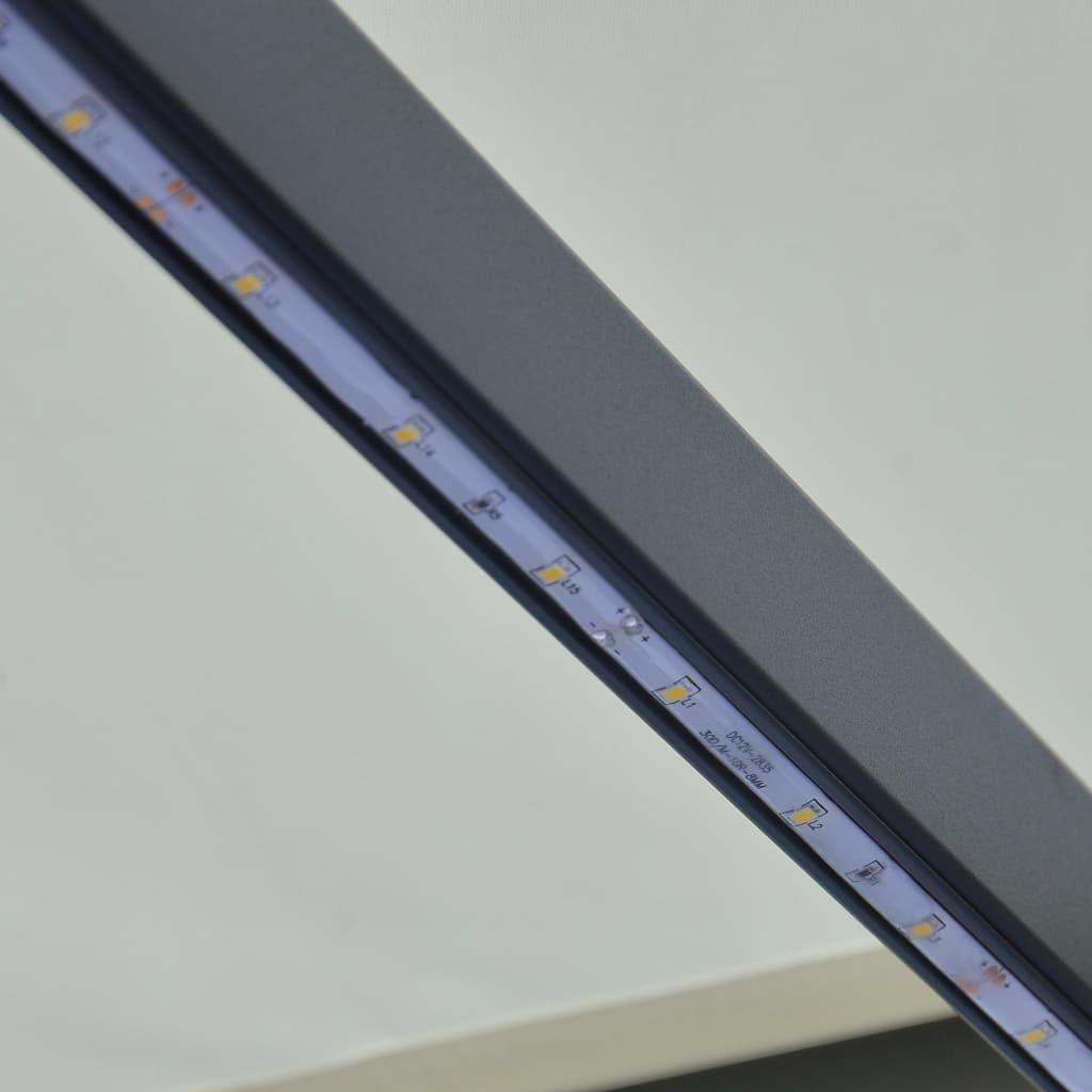 Infällbar markis med vindsensor & LED 600x300 cm gräddvit