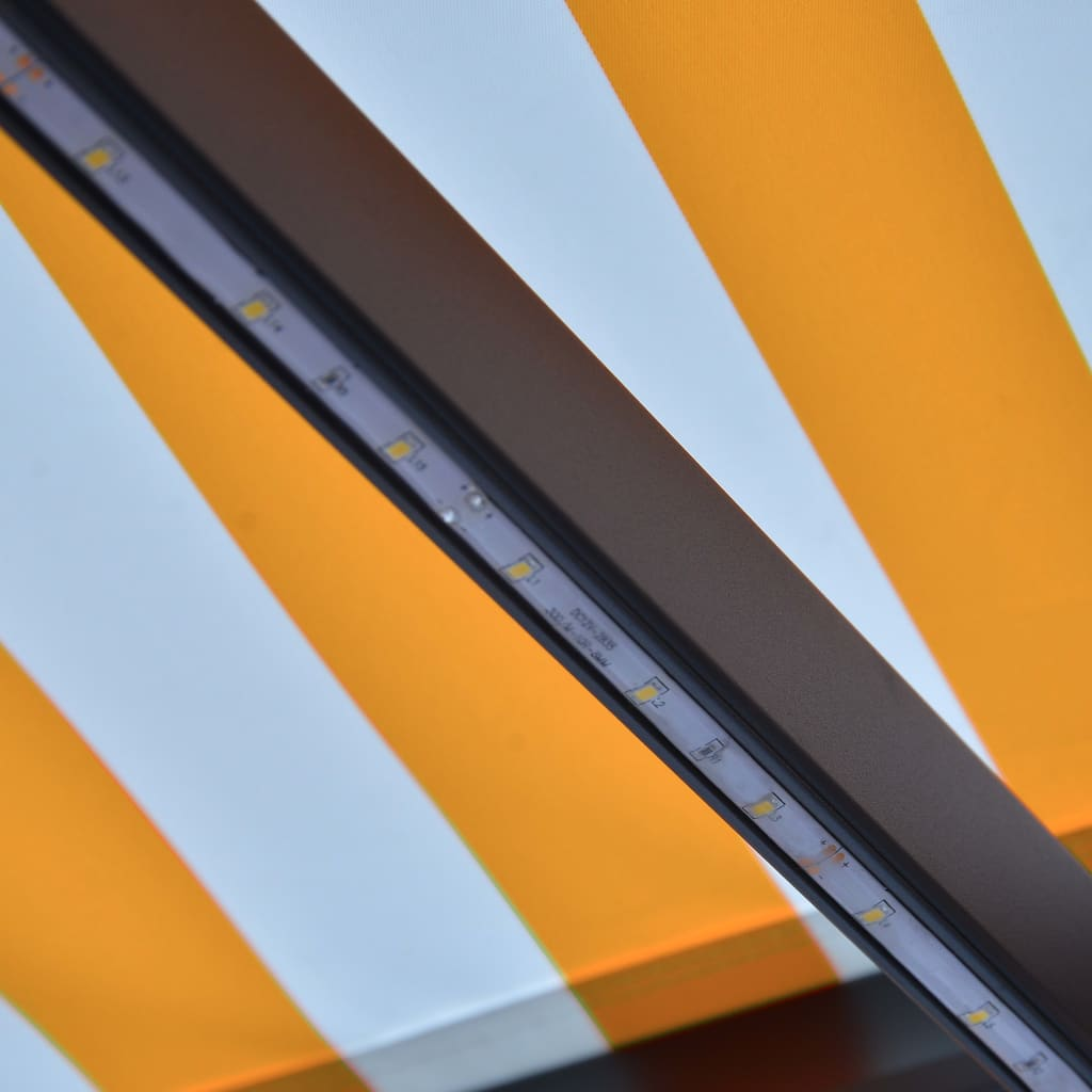 Infällbar markis med vindsensor & LED 600x300 cm gul och vit