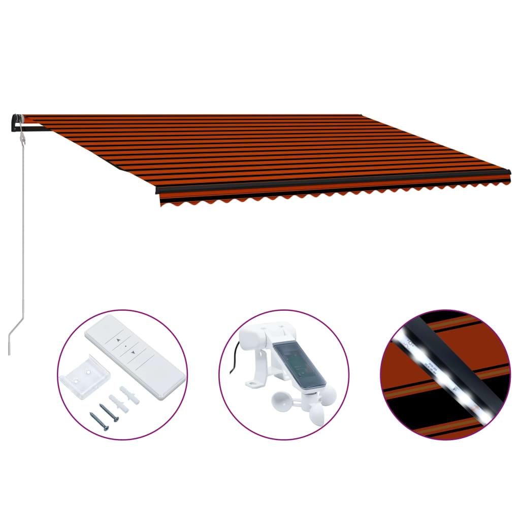 Infällbar markis med vindsensor & LED 600x300 cm orange & brun