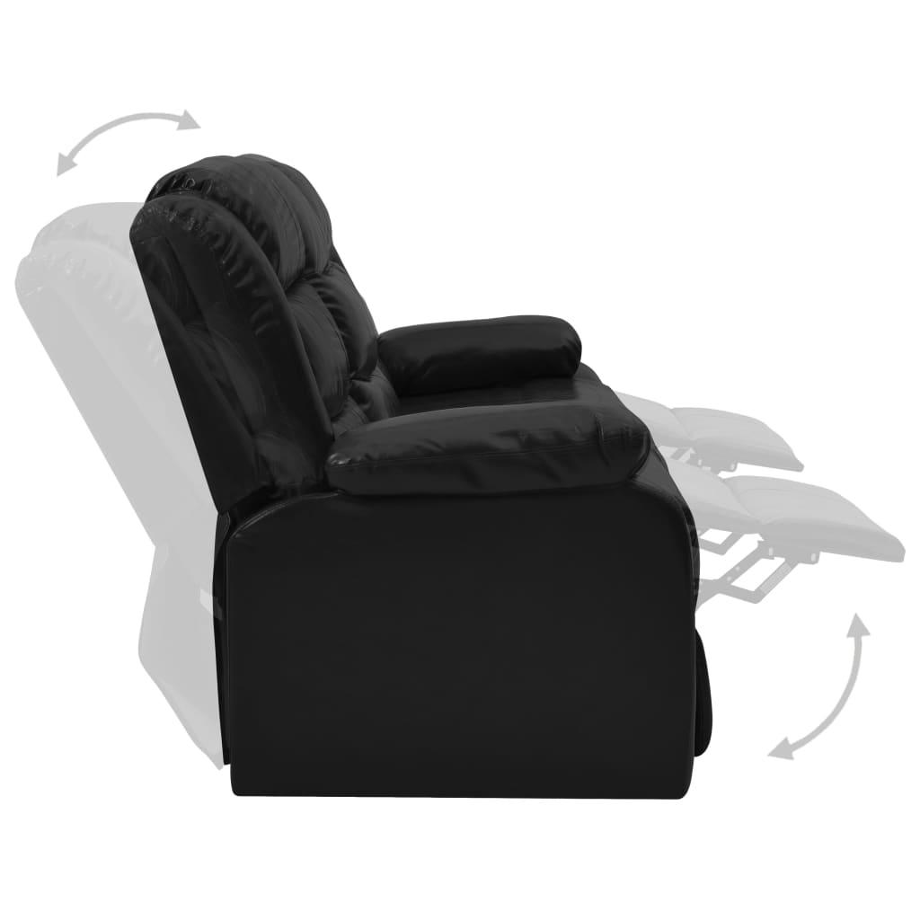 Ställbar soffgrupp 3-sits + 1 fåtölj svart konstläder