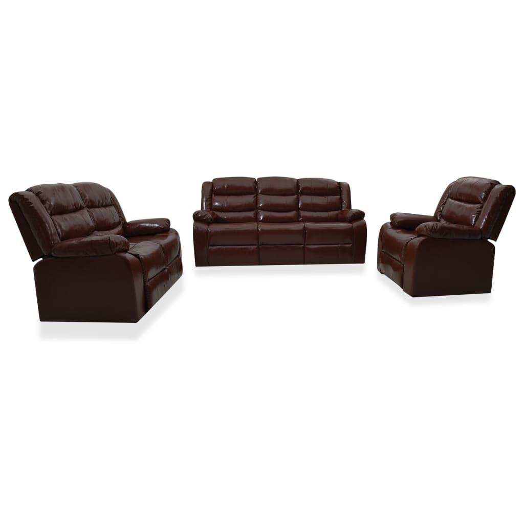 Ställbar soffgrupp 3-sits + 2-sits + 1 fåtölj brun konstläder
