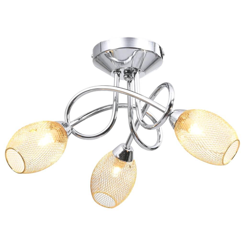 Taklampa med guldpläterade lampskärmar för 3 G9-lampor guld