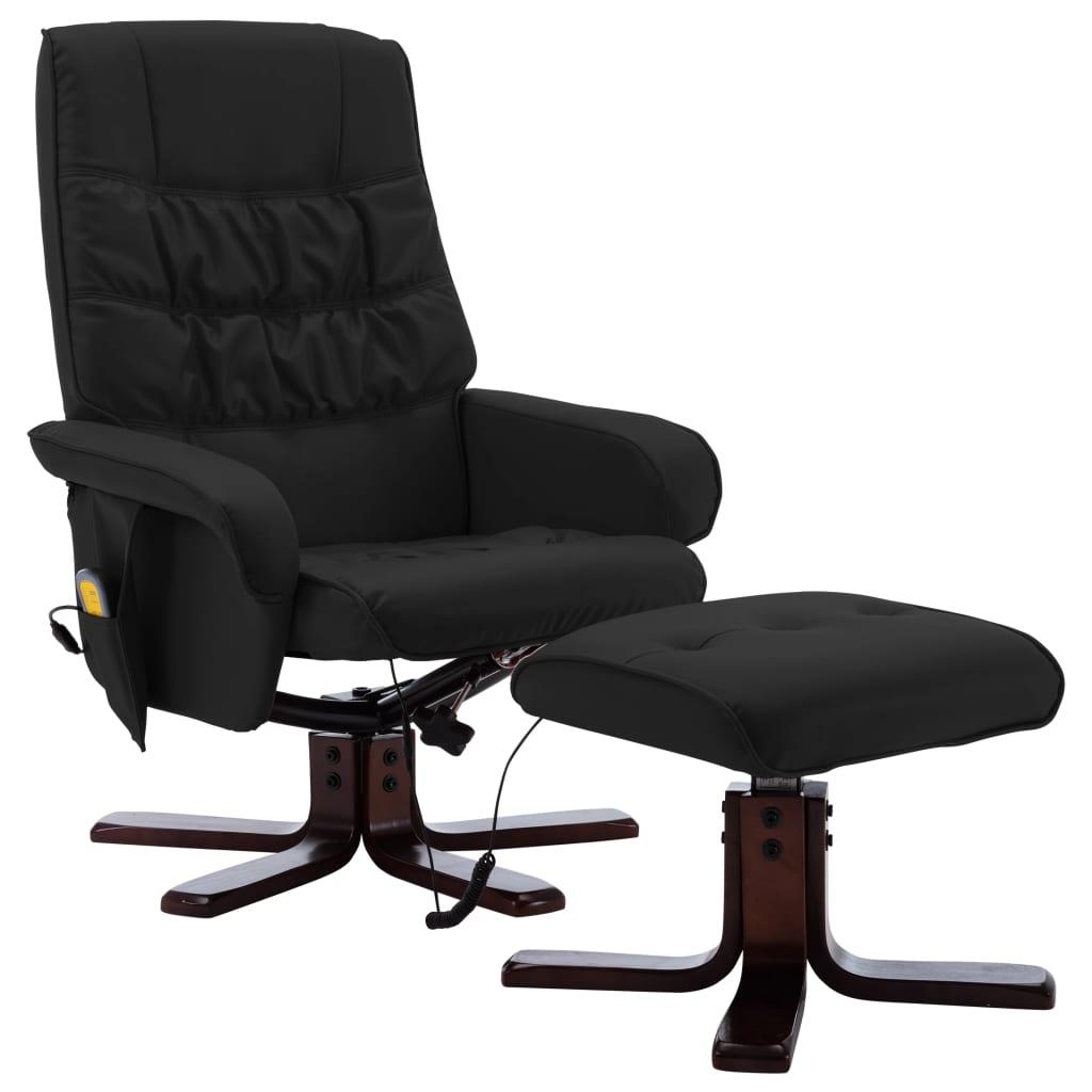 Massagefåtölj med fotpall svart konstläder