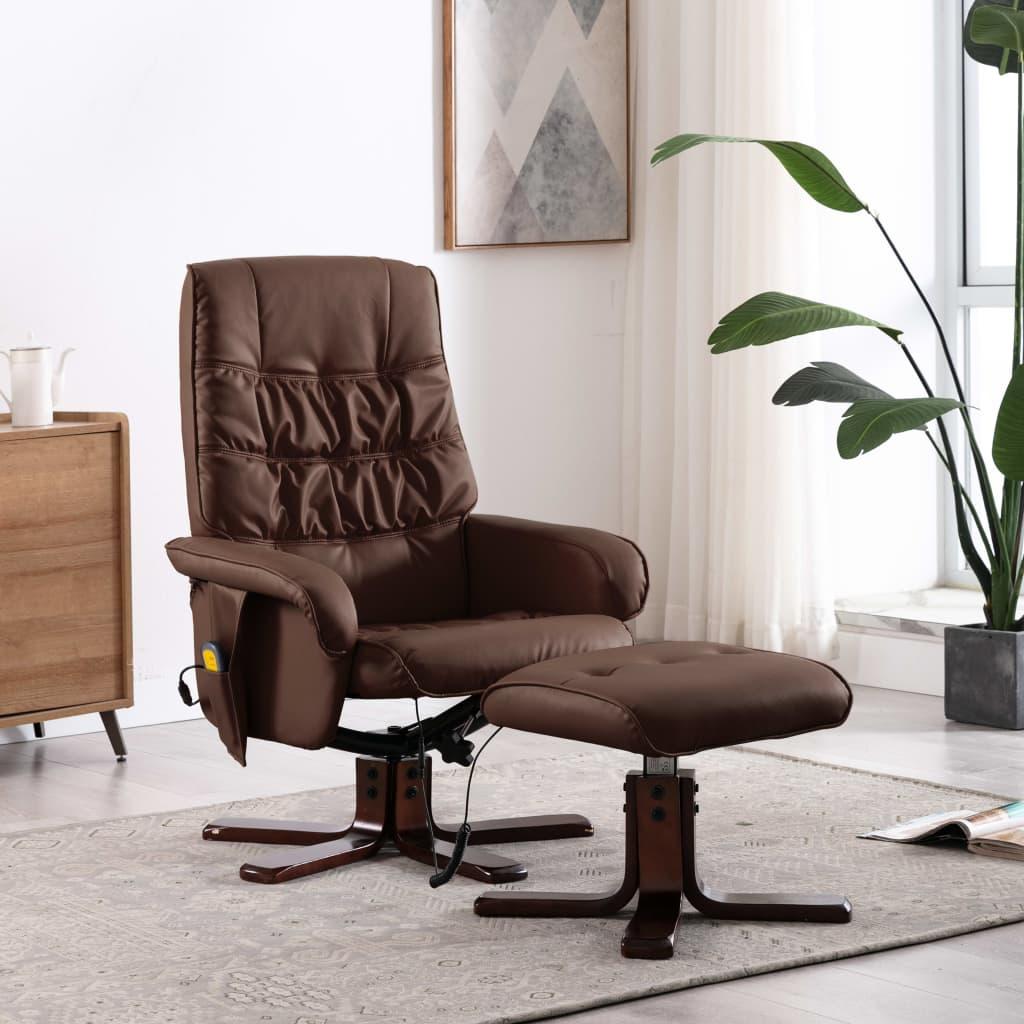 Massagefåtölj med fotpall brun konstläder