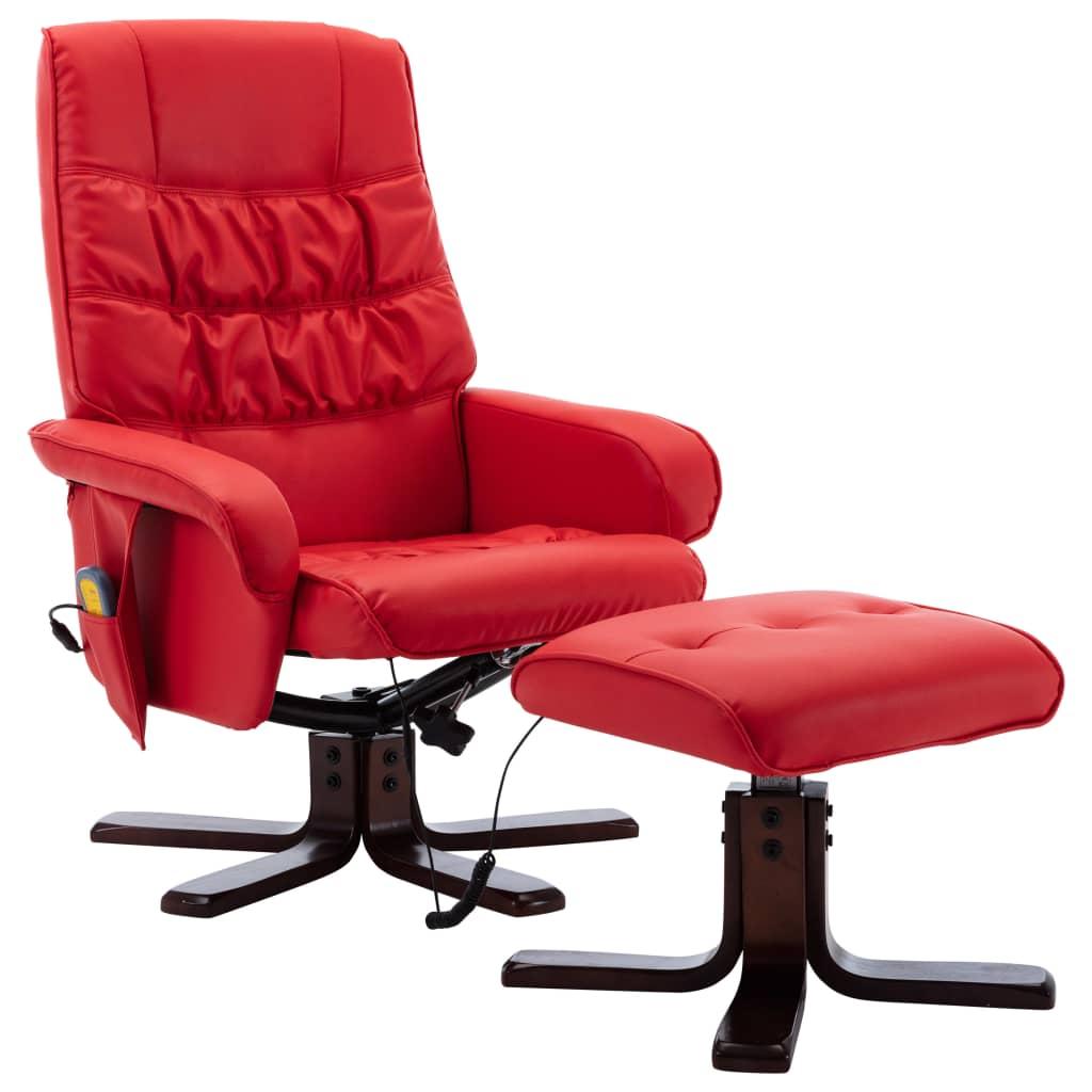 Massagefåtölj med fotpall röd konstläder