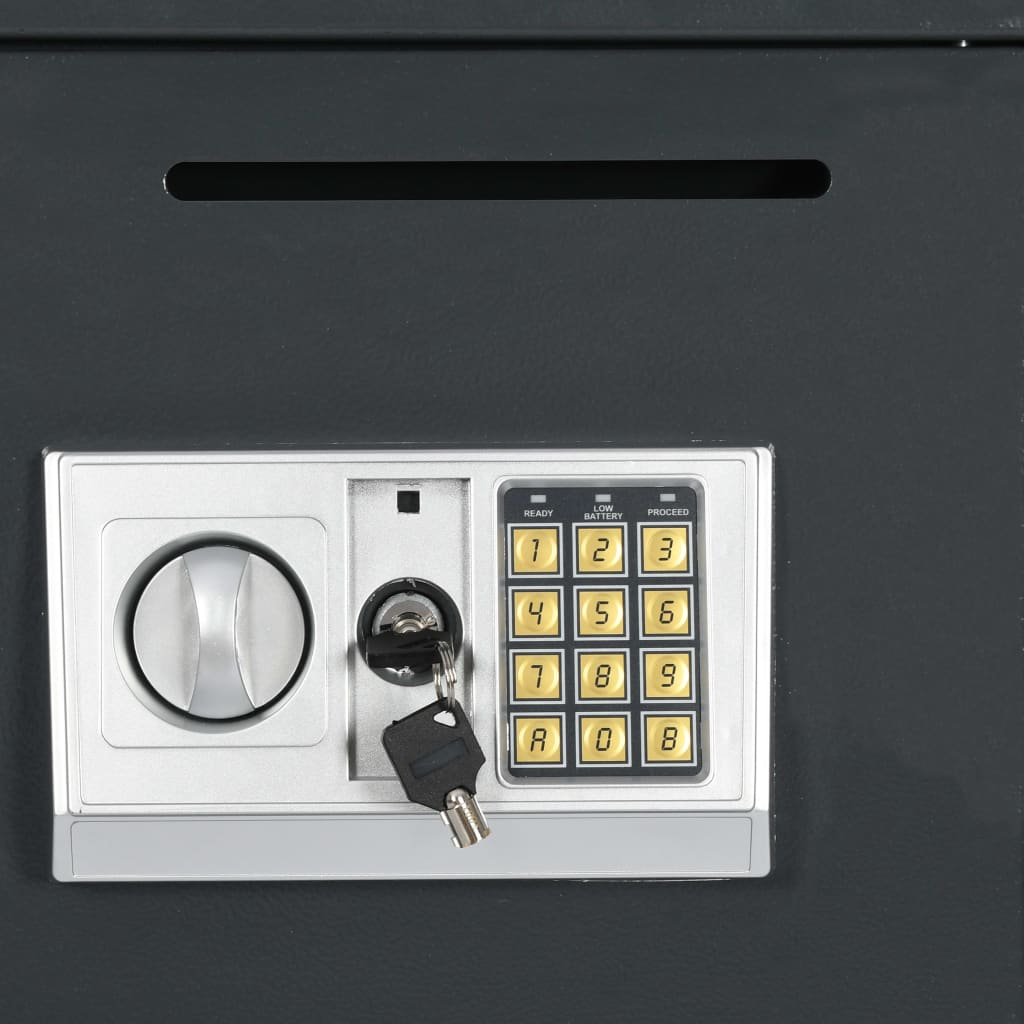 vidaXL Digitalt kassaskåp med dubbeldörr mörkgrå 35x31x80 cm
