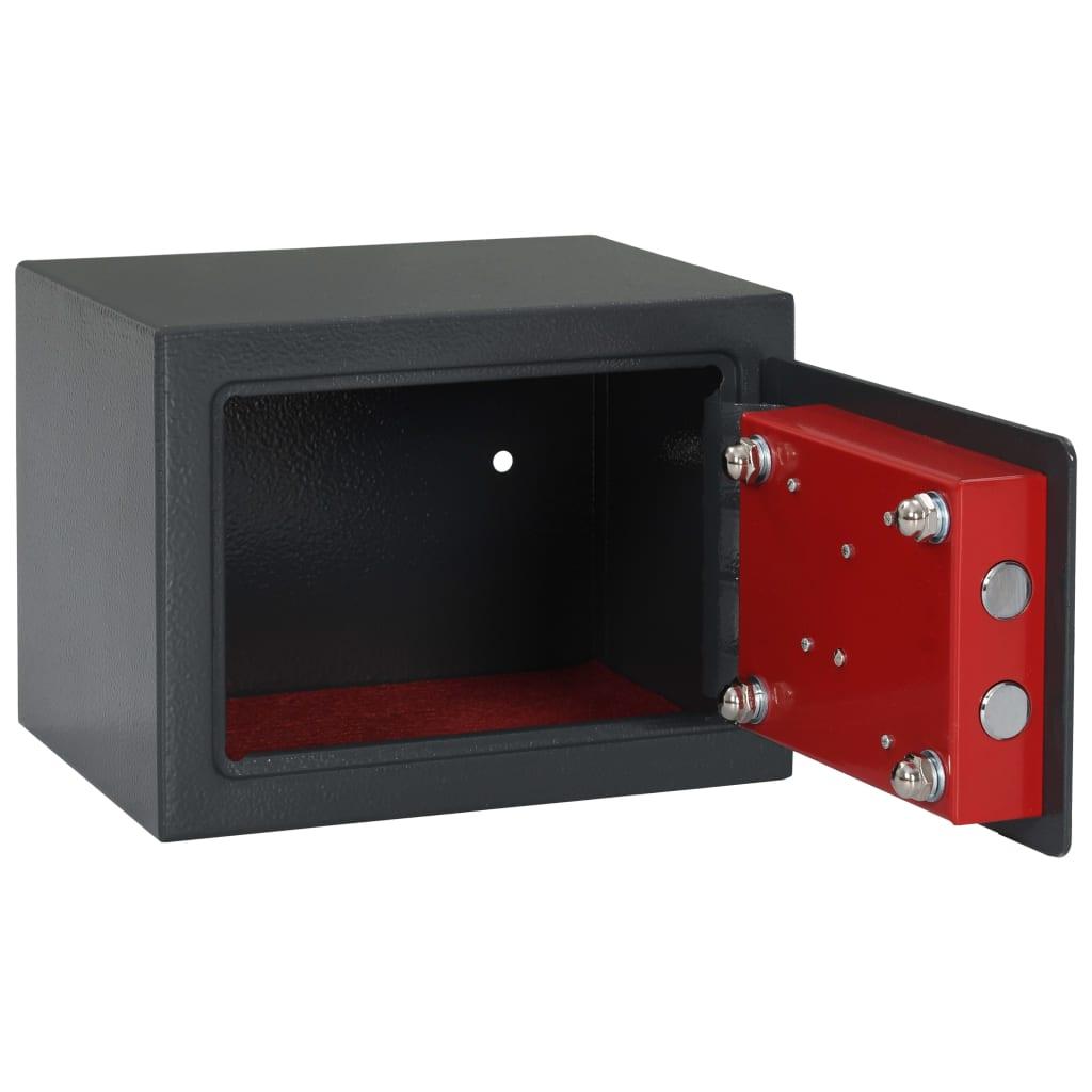 vidaXL Mekaniskt kassaskåp mörkgrå 23x17x17 cm stål