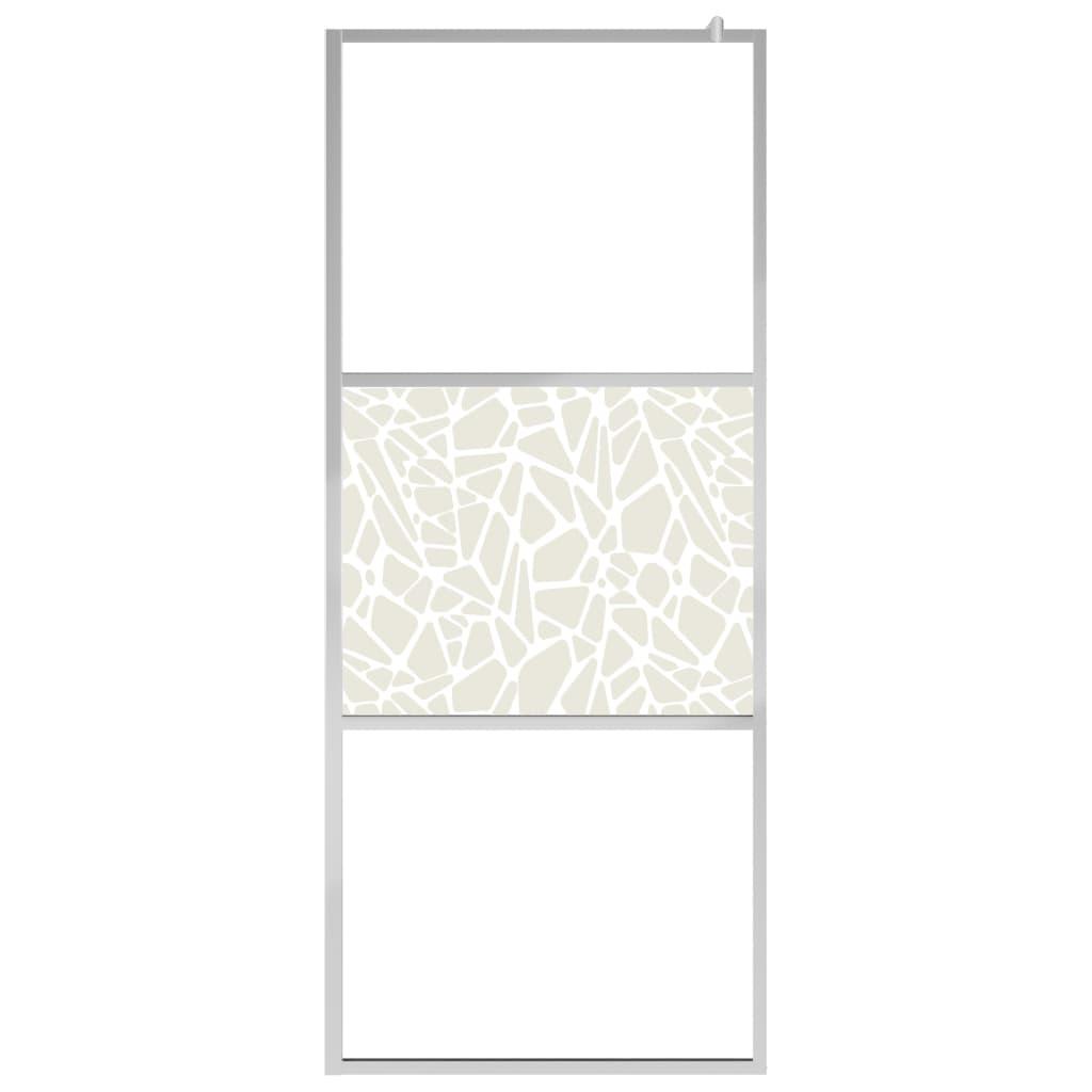vidaXL Duschvägg med ESG-glas stendesign 115x195 cm