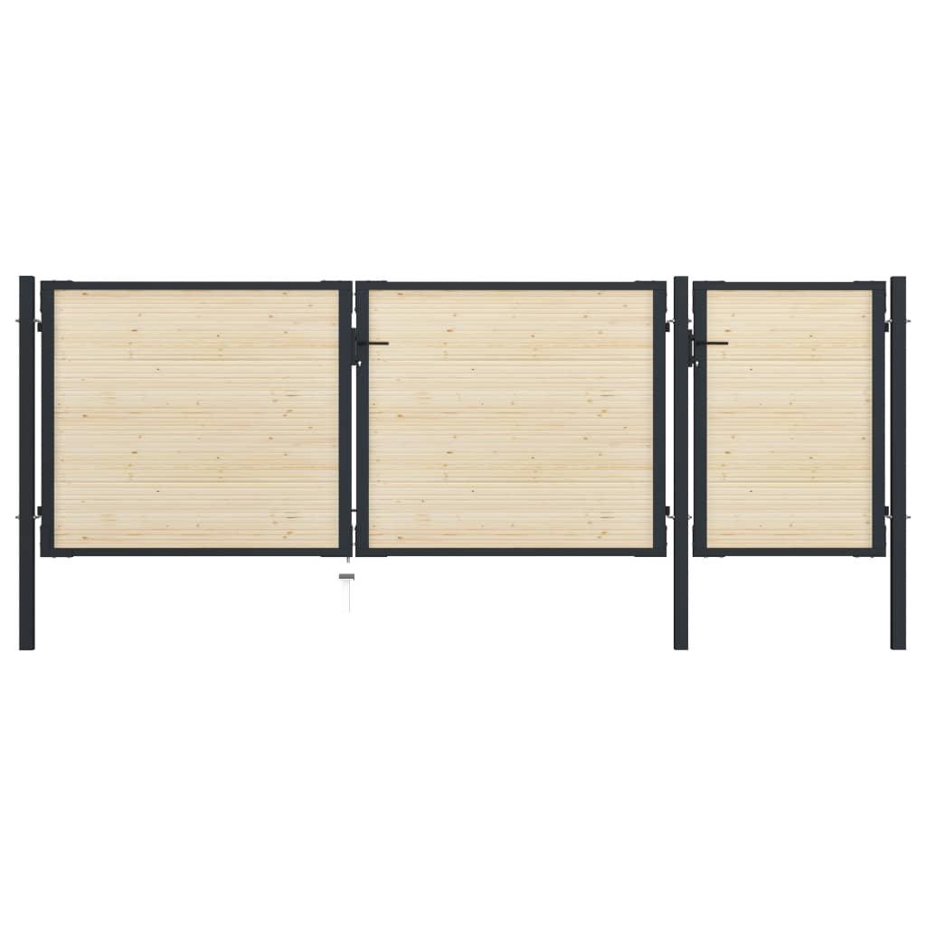 Grind stål och granträ 413x175 cm