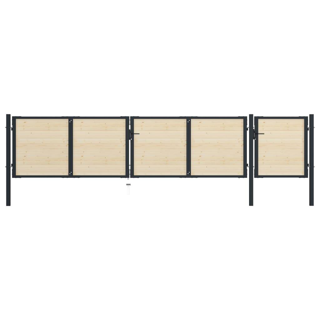 Grind stål och granträ 513x150 cm