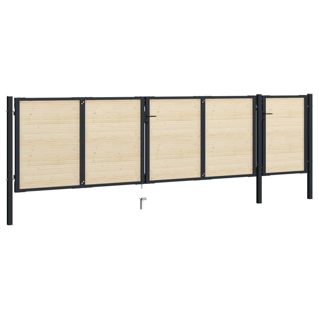 Grind stål och granträ 513x175 cm
