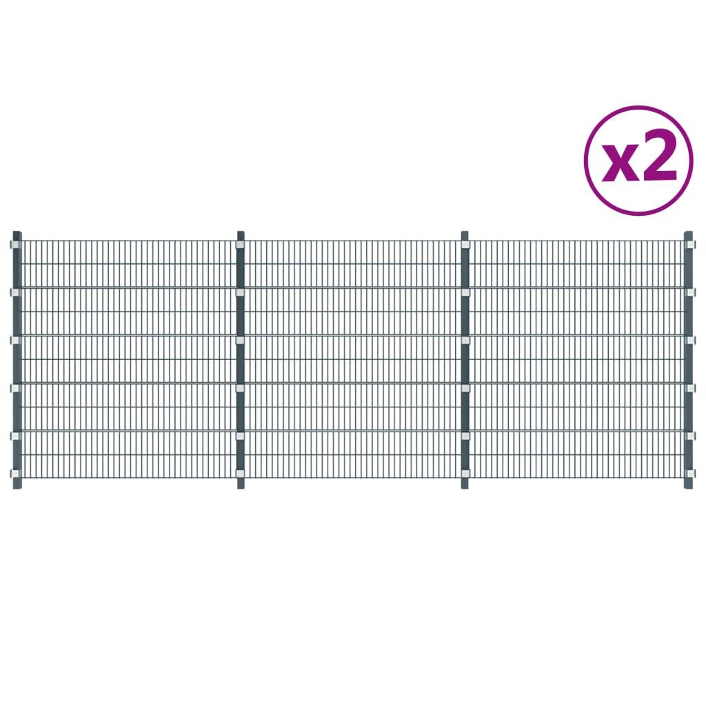 Staketpaneler 2 st järn 6x2 m 12m(total längd) antracit grå